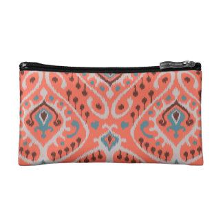 Modern teal orange girly ikat tribal pattern makeup bag