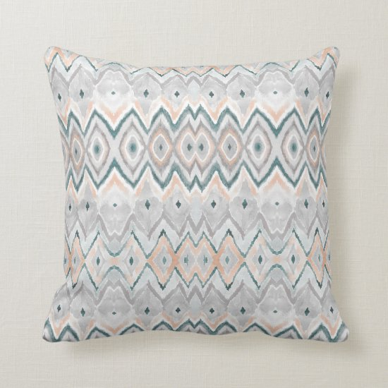 Modern Teal Peach Gray Chevron Diamond Pattern Throw Pillow