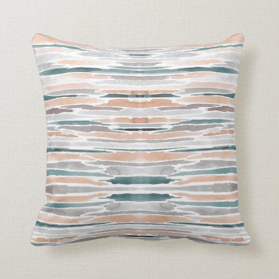 Modern Teal Peach Gray Watercolor Stripe Pattern Throw Pillow