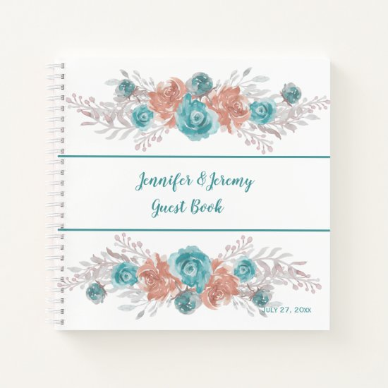 Modern Teal Peach Silver Floral Wedding Guest Book