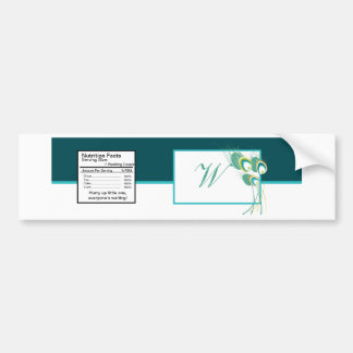 Modern Teal Peacock Wedding Water Bottle Label Bumper Sticker