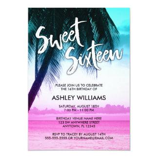 Modern Teal Pink Tropical Luau Sweet 16 Invitation