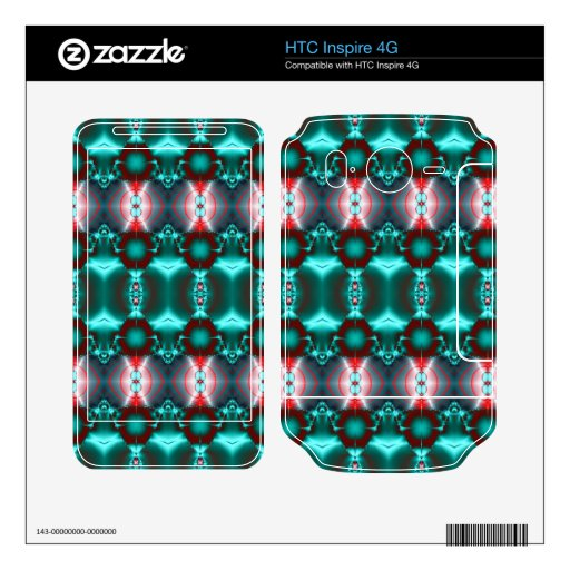 Modern Teal Red abstract design HTC Inspire 4G Skins