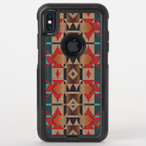 Modern Teal Red Taupe Brown Mosaic Art Pattern OtterBox Commuter iPhone XS Max Case