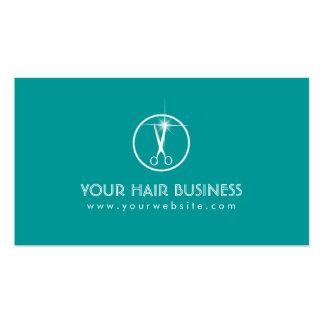 Modern Teal Scissor Icon Hair Salon Business Card