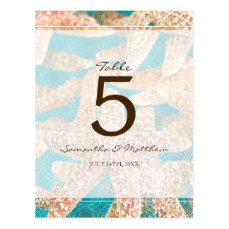 Modern Teal Starfish Wedding Table Number Postcard