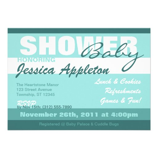 Modern Teal Stripe Baby Shower Invitations