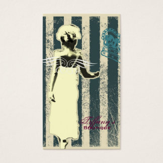 modern teal stripes Junior Bridesmaid Business Card