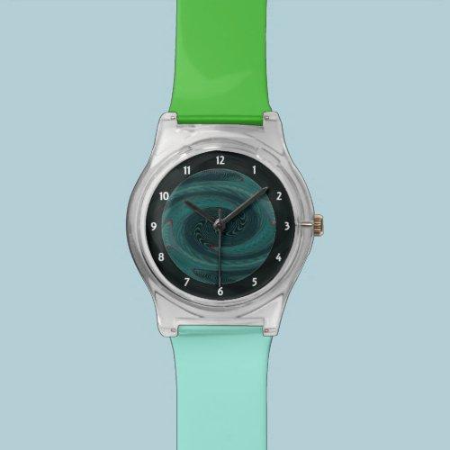 Modern Teal Swirl Wrist Watch