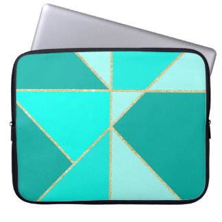 Modern teal triangles  color block gold stripes laptop sleeve