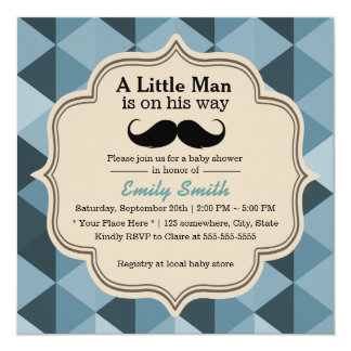 Modern Teal Triangles Mustache Baby Shower Card