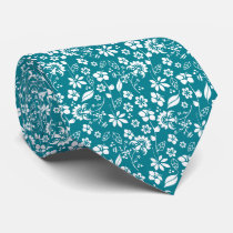 Modern Teal Turquoise Blue Floral Pattern Neck Tie