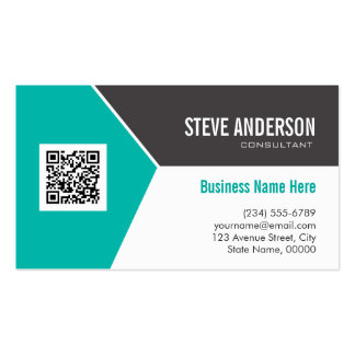 Modern Teal Turquoise Corporate QR Code Logo Double-Sided Standard Business Cards (Pack Of 100)