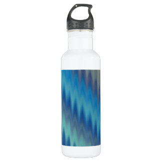 Modern Teal Turquoise Ikat Chevron Zigzag Stainless Steel Water Bottle