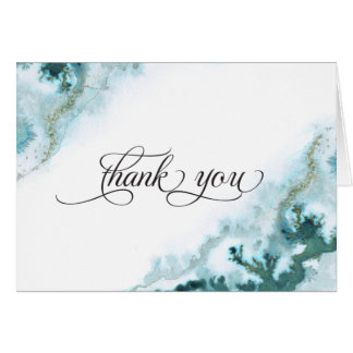 Modern Teal Watercolor Moss Agate BarefootBride™ Card