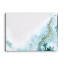 Modern Teal Watercolor Moss Agate BarefootBride™ Envelope