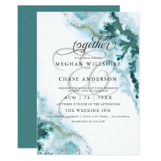 Modern Teal Watercolor Moss Agate BarefootBride™ Invitation
