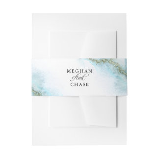 Modern Teal Watercolor Moss Agate BarefootBride™ Invitation Belly Band