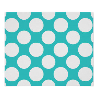 Modern Teal White Polka Dots Pattern Poster