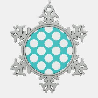 Modern Teal White Polka Dots Pattern Snowflake Pewter Christmas Ornament
