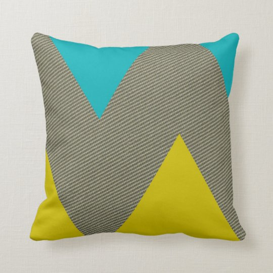 Modern Teal Yellow And Tweed Throw Pillow Zazzle Com