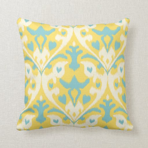 Modern teal yellow girly ikat tribal pattern throw pillow Zazzle