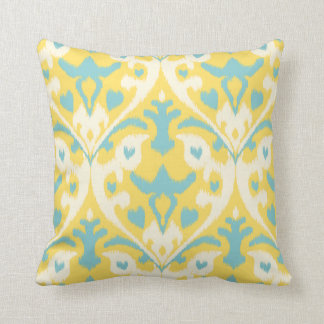 Modern teal yellow girly ikat tribal pattern throw pillow