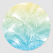 Modern teal yellow tropical palm trees pattern classic round sticker