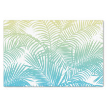 Modern teal yellow tropical palm trees pattern tissue paper