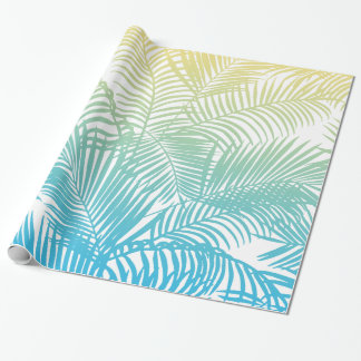 Modern teal yellow tropical palm trees pattern wrapping paper