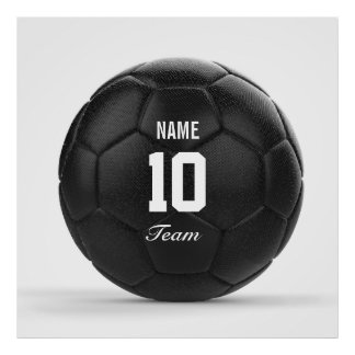 Modern Team Soccer Ball Personalized Text Poster
