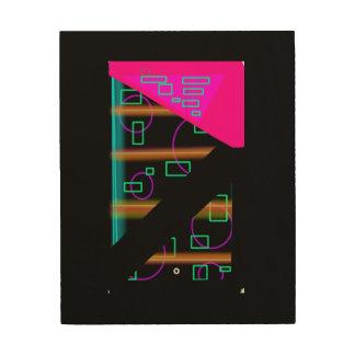 Modern Techno Neon Cosmic 8x10 Wood Wall Art
