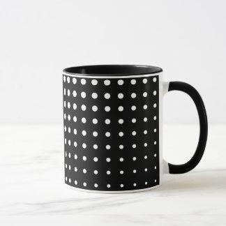 Modern techno shrinking polka dots black and white mug