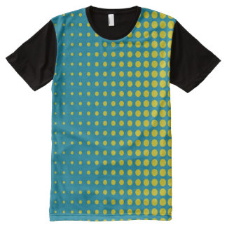 Modern techno shrinking polka dots blue gold All-Over-Print T-Shirt
