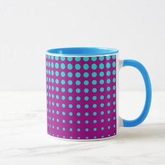 Modern techno shrinking polka dots opal  fuchsia mug