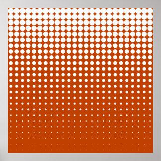 Modern techno shrinking polka dots white mahogany poster