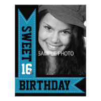 Modern Teen Sweet 16th Birthday Aqua Ribbons Personalized Announcements