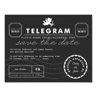 "Modern Telegram Card Save the Date 4.25"" X 5.5"" Invitation Card"