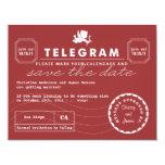 Modern Telegram Card Save the Date - Red Custom Invite