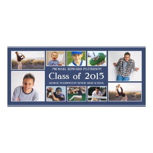 Modern Ten Photo Collage Graduation Announcment Personalized Invitation