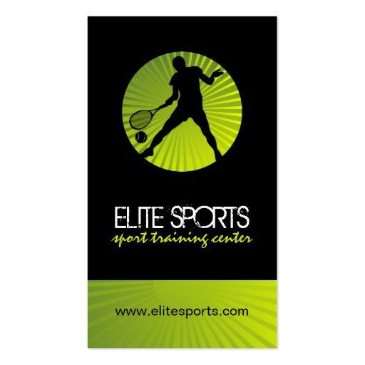 Modern Tennis Coach Business Cards