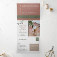 Modern Terracotta Floral Pink Roses Wedding Photo Tri-Fold Invitation