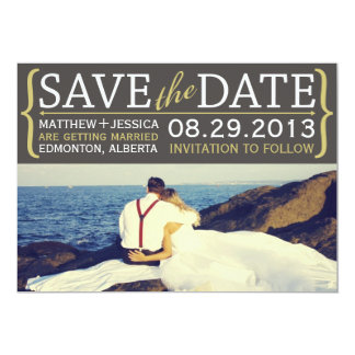 Modern Text & Bracket Save the Date Card - Yellow