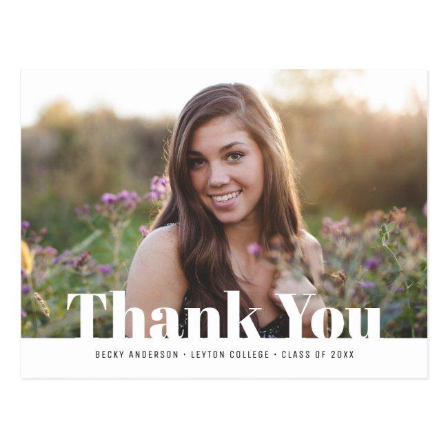 Modern text photo graduation thank you postcard