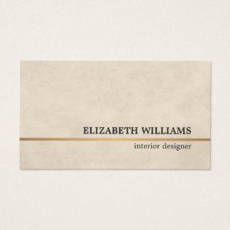 Modern Texture Beige Copper Line Interior Designer Business Card