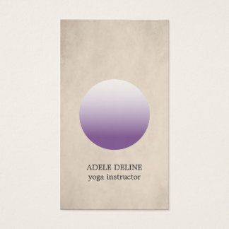 Modern Texture Beige Purple Circle Yoga Instructor Business Card