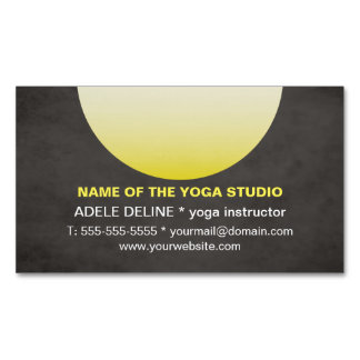 Modern Texture Black Yellow Yoga Instructor Business Card Magnet