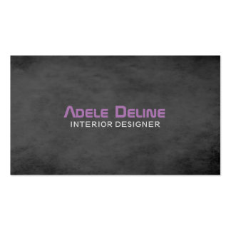 Modern Texture Dark Grey Purple Interior Designer Double-Sided Standard Business Cards (Pack Of 100)