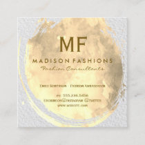 Modern Texture Watercolor Brushed with Monogram Square Business Card