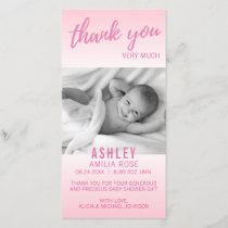 Modern Thank You Baby Shower Girl Pink | Add PHOTO